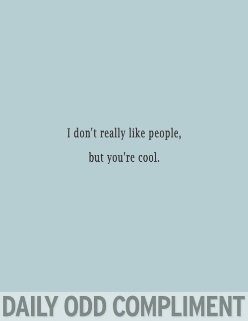 I don't really like people but you're cool