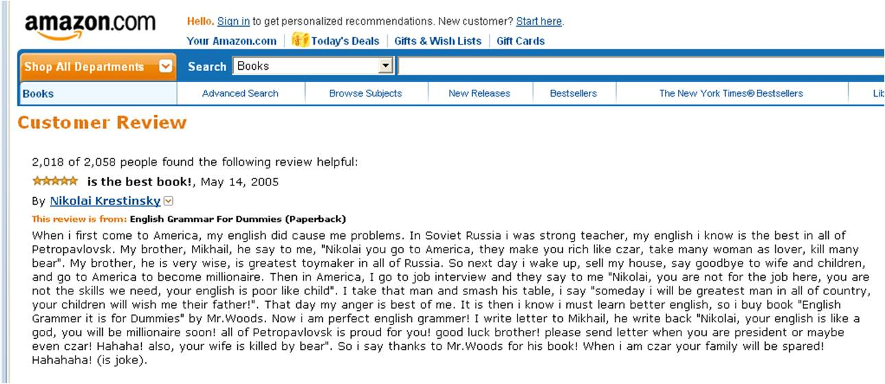 English Grammar for Dummies Amazon review