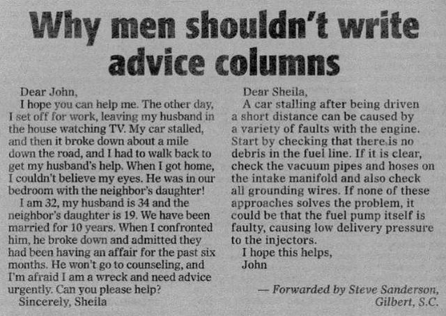 Why men shouldn't write advice columnsWhy men shouldn't write advice columns